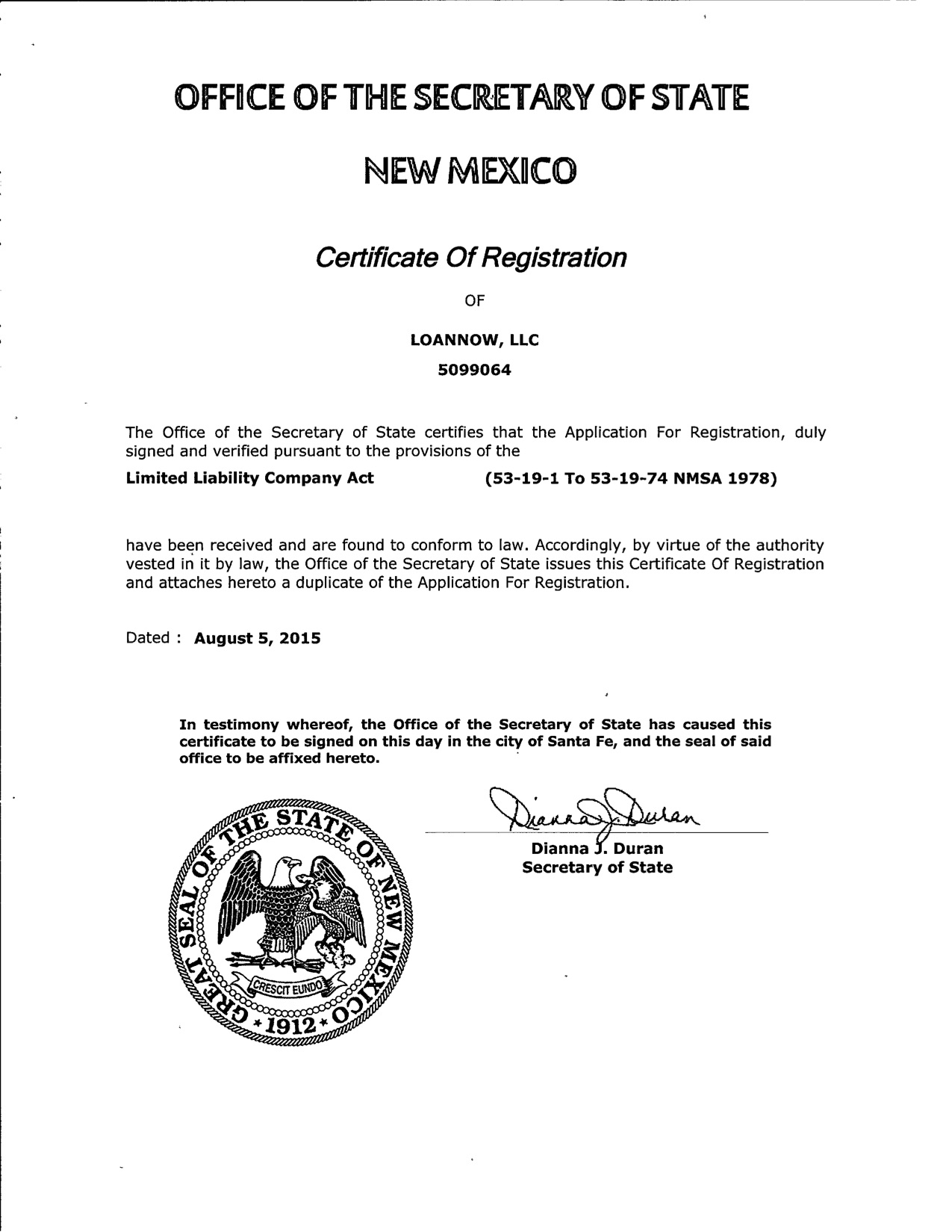 NM Certificate of Registration